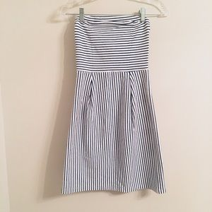 Old Navy strapless black and white stripe dress XS